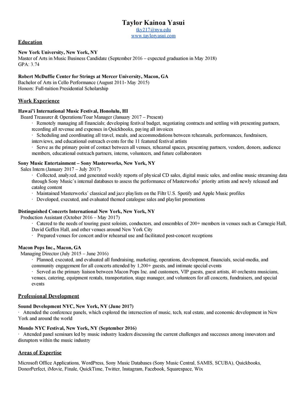 09252017 Resume Page 001  Music Business Resume