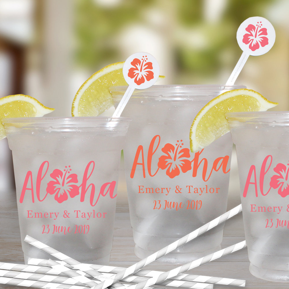 You had me at ALOHA - Personalized plastic cups are a great way to express your style or set the tone of any party.  Whether you plan to have a backyard barbecue, fun beach wedding or outdoor event we have a variety of plastic cups to select from.  Often best when glass is not an option,  available in frosted re-usable or clear disposable.