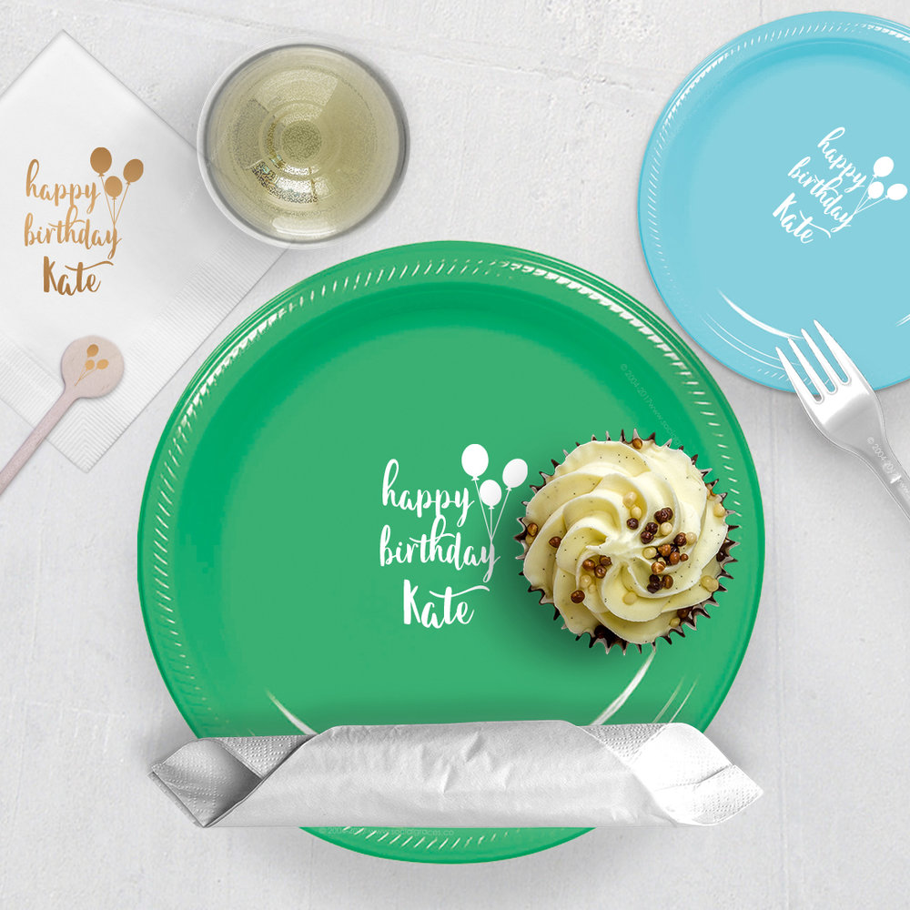Say it's your Birthday - Custom printed plates are party essentials that every event planner loves, take your special occasion to the next level and elevate your party with dinner or dessert plates that complement our cups and napkins.