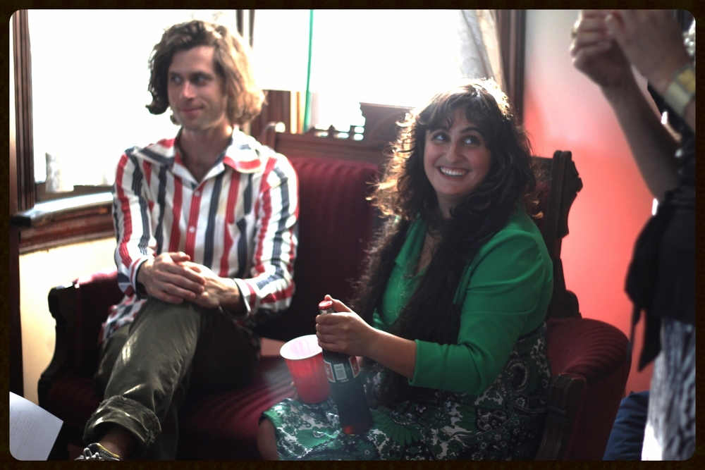 Lauren White and Aaron Murtagh between takes at the Ennis House, 2013