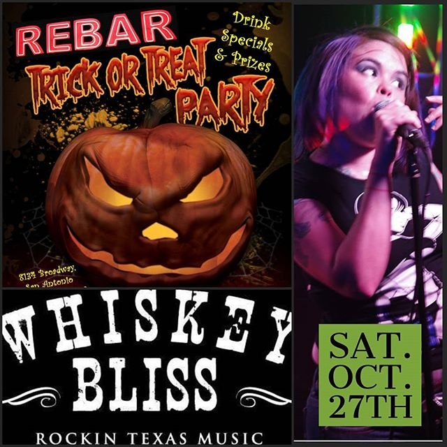 You are invited to REBAR's Halloween Party!!! Eyeballs, cocktails & witches brew. Fright Night is almost here, get your costumes if you fear! Come to our party for some ghoulish fright and the most creative band in sight!! Whiskey Bliss is in the house so fly over on a broom or float like a ghost. Just don't be tardy for our Halloween Party!  Warning: If you refuse this invitation something awful may happen. You'll miss out on all the fun! Please join us at our Halloween Costume Party!!