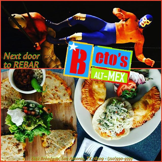 The food at Beto's Alt-Mex is a knockout!! While at REBAR, call over to our friends next door and have some of that delicious food delivered!! 210-930-9393