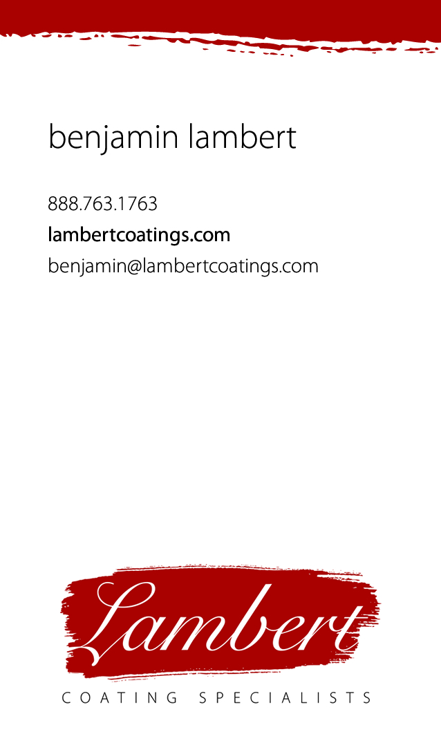 Lambert Coating Specialists - Business Card (front)