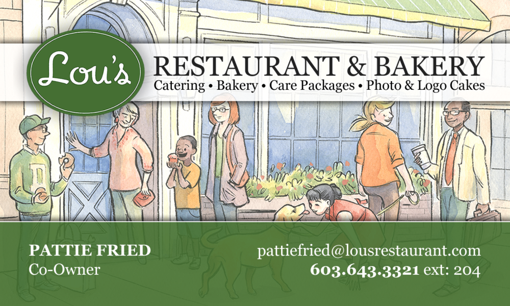 Lou's Restaurant & Bakery - Business Card (front)