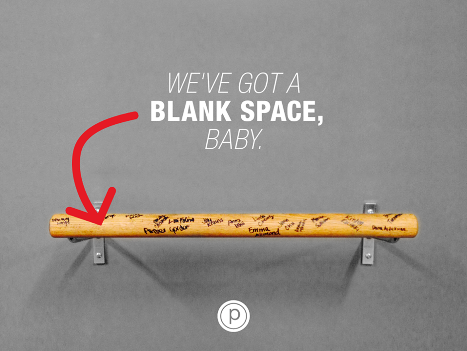 "PURE BARRE Objective: Engagement Rationale: We knew the Pure Barre community loved Taylor Swift. So at the start of 2015, we kicked off the new year by incorporating her song ""Blank Space"" into a common Pure Barre resolution: joining the 100 Club (after taking 100 classes, clients sign their name to the bar).  Results: 2,994 likes and 90 shares on Facebook. 1,346 likes on Instagram. 58 Favorites on Twitter."