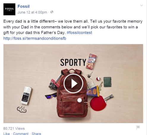 Other brands like Fossil executed contests for Father's Day