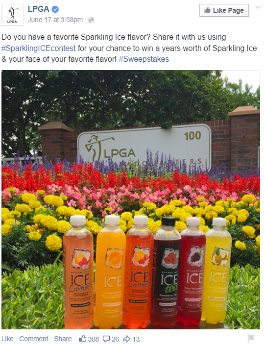 The Ladies Professional Golf Association used the hashtags #SparklingICEcontest and #Sweepstakes in the post copy. Identifying that the post is providing fans the opportunity for a chance to win meets the updated FTC guidelines.