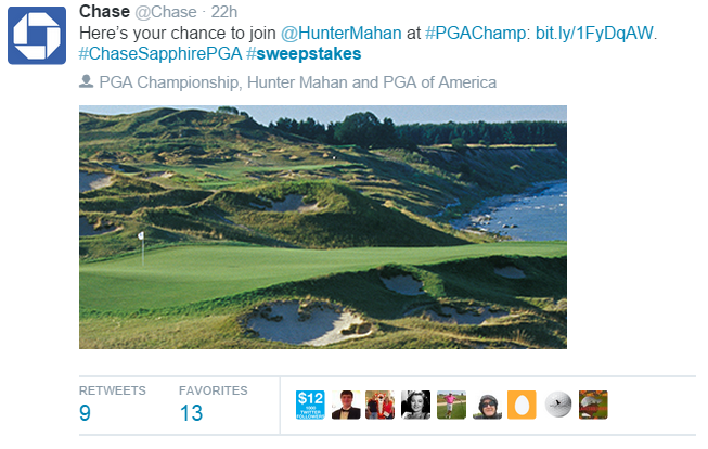 Chase is currently running a sweepstakes about the Professional Golf Association tour. Their use of the hashtag #sweepstakes makes them compliant with the new FTC guidelines. It is important to write out the word sweepstakes instead of using a shorthand term like sweeps.