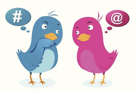 Two Cartoon Twitter Birds