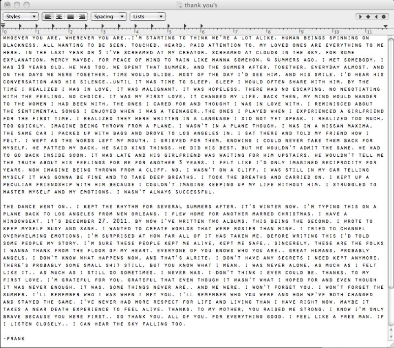 Frank Ocean's Tumblr Note