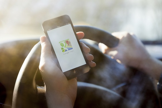 Google Maps at the Wheel of a Car
