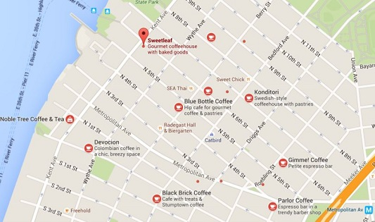 Google Map of Coffee Shops in Williamsburg