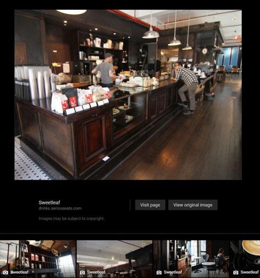 Google Maps Photos of a Coffee Shop Sweetleaf