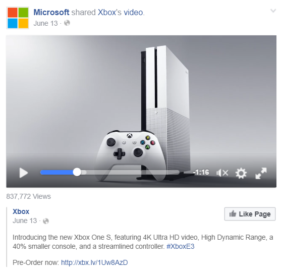 Microsoft shares Xbox Video on Facebook