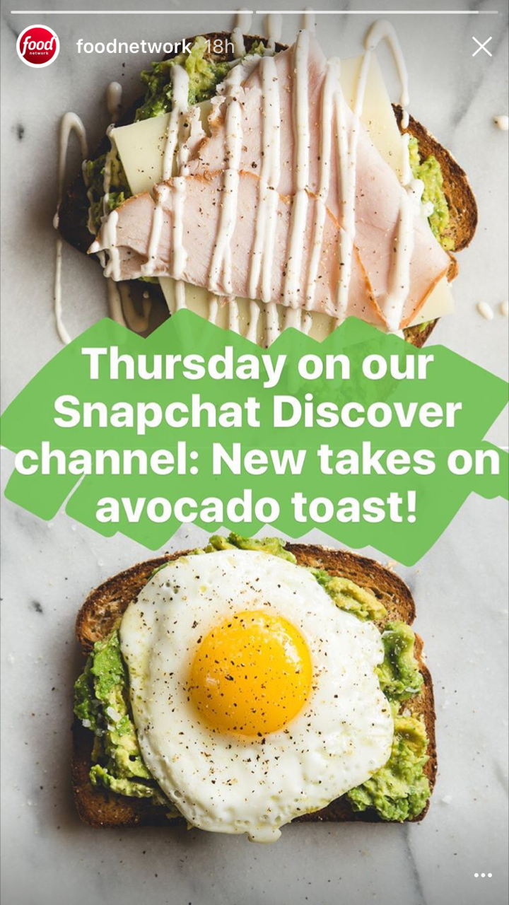 Food Network advertises their Snapchat Story on Instagram Stories