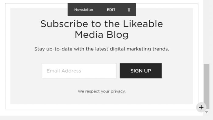 newsletter block in edit mode