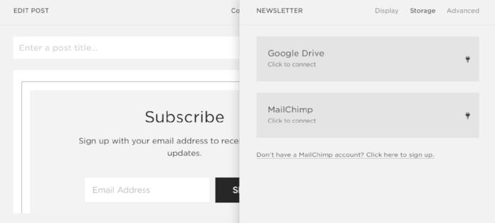 newsletter block storage options