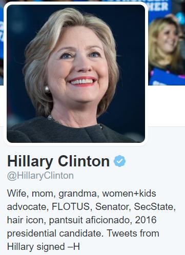 Hillary Clinton's Twitter bio