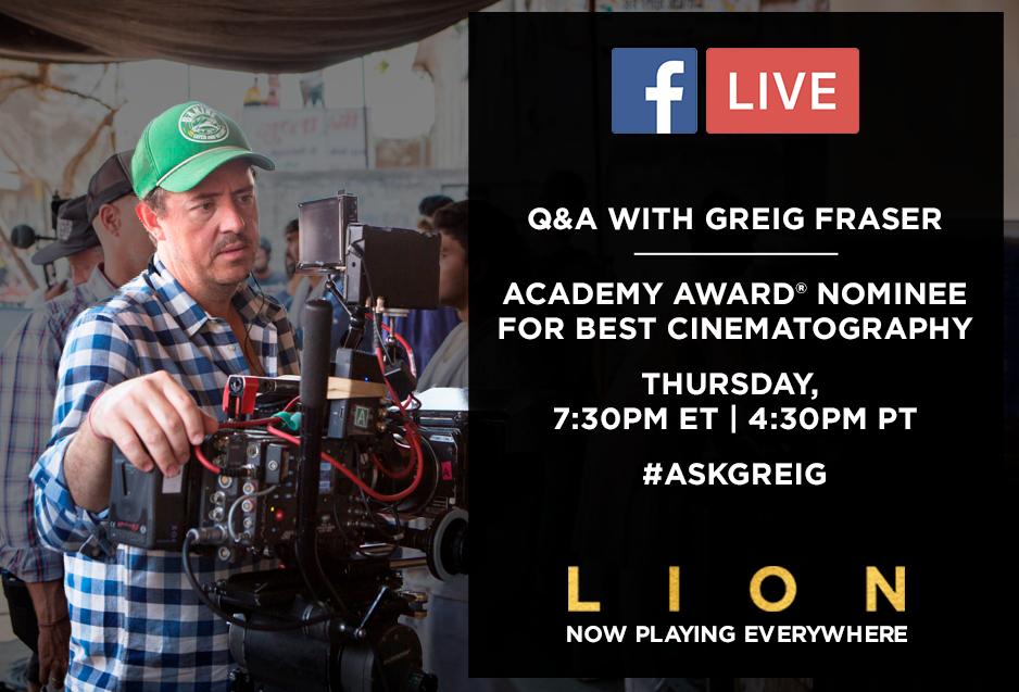 Facebook Live Q&A Greig Fraser