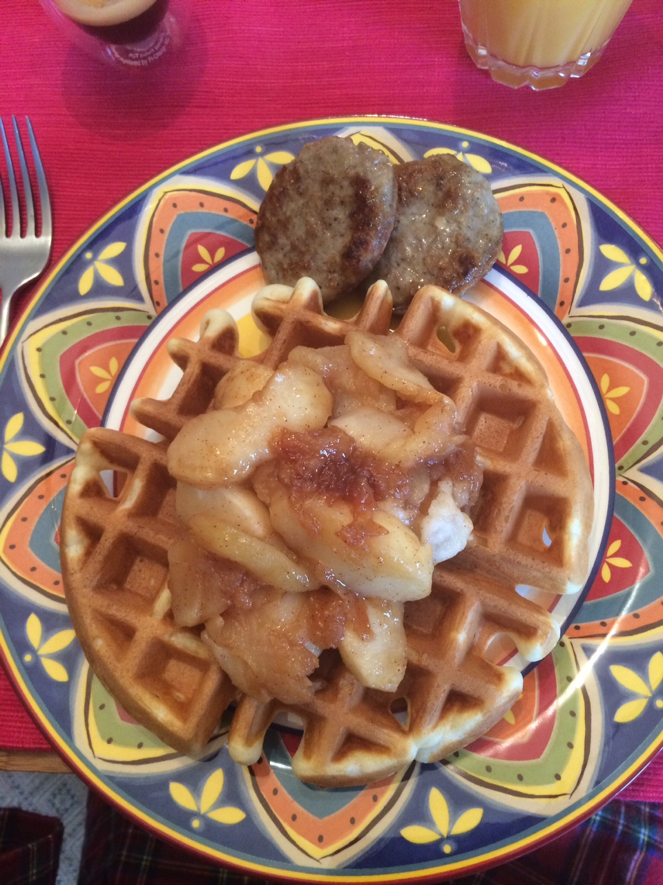 Farm Breakfast - Waffle, Apple Reduction, Sausage Patties