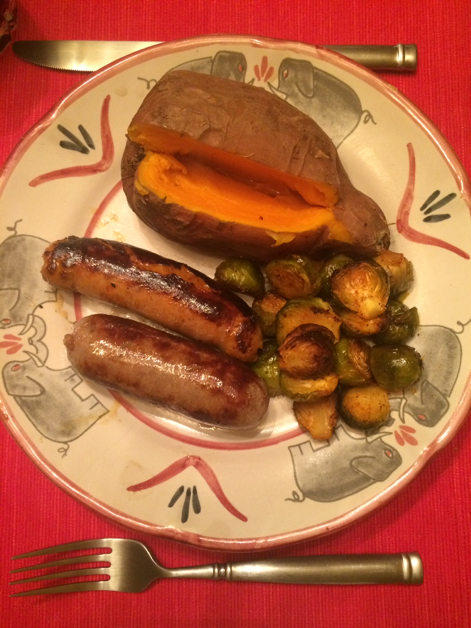 Yams, Brussels Sprouts and Spicy Sausage