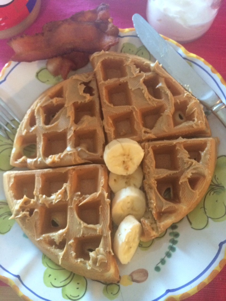 Waffles, Bacon and Bananas Double mmmmmmmm….