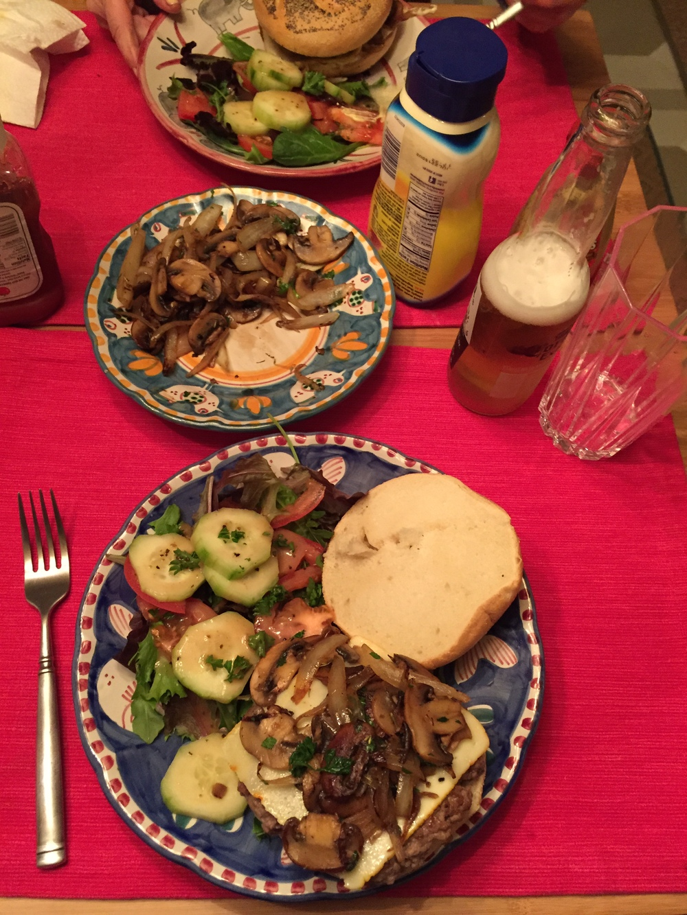 Burgers with Onions and Mushrooms