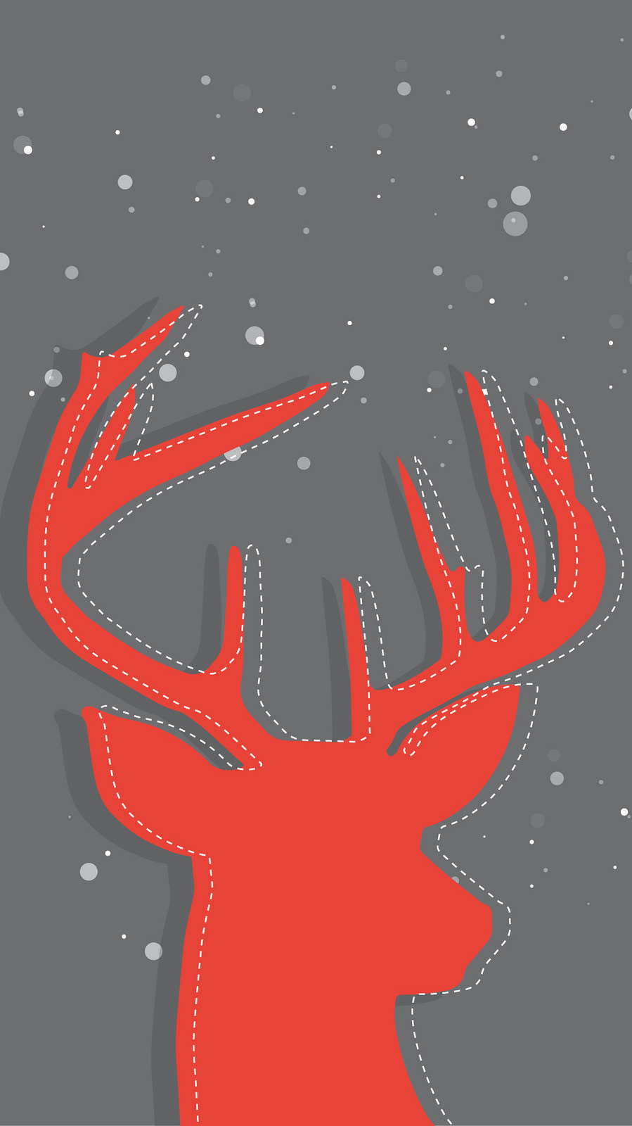 Christmas Stag Red iPhone Wallpaper