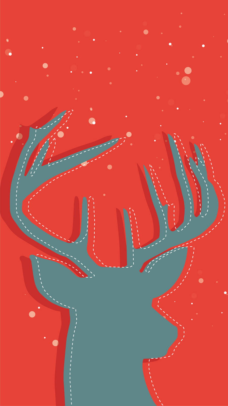 Christmas Stag Grey iPhone Wallpaper