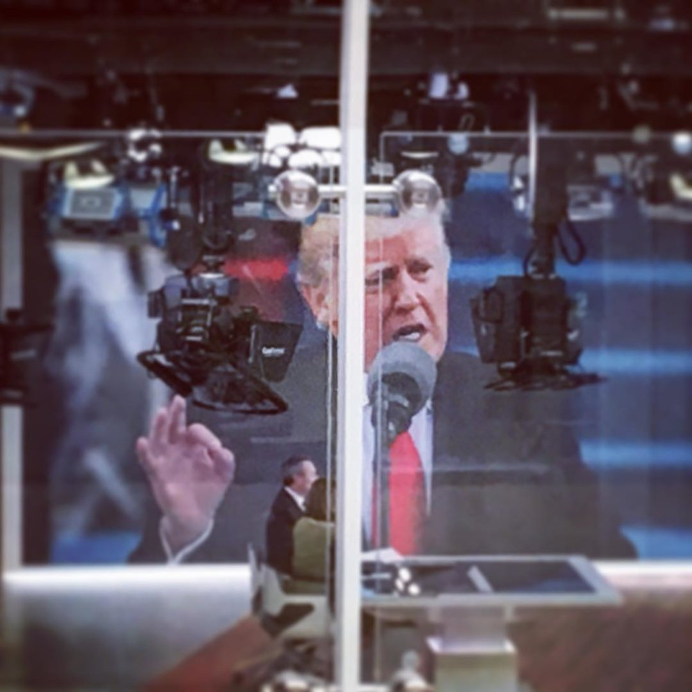 #Trump on #SkyNews in glass box at sky central