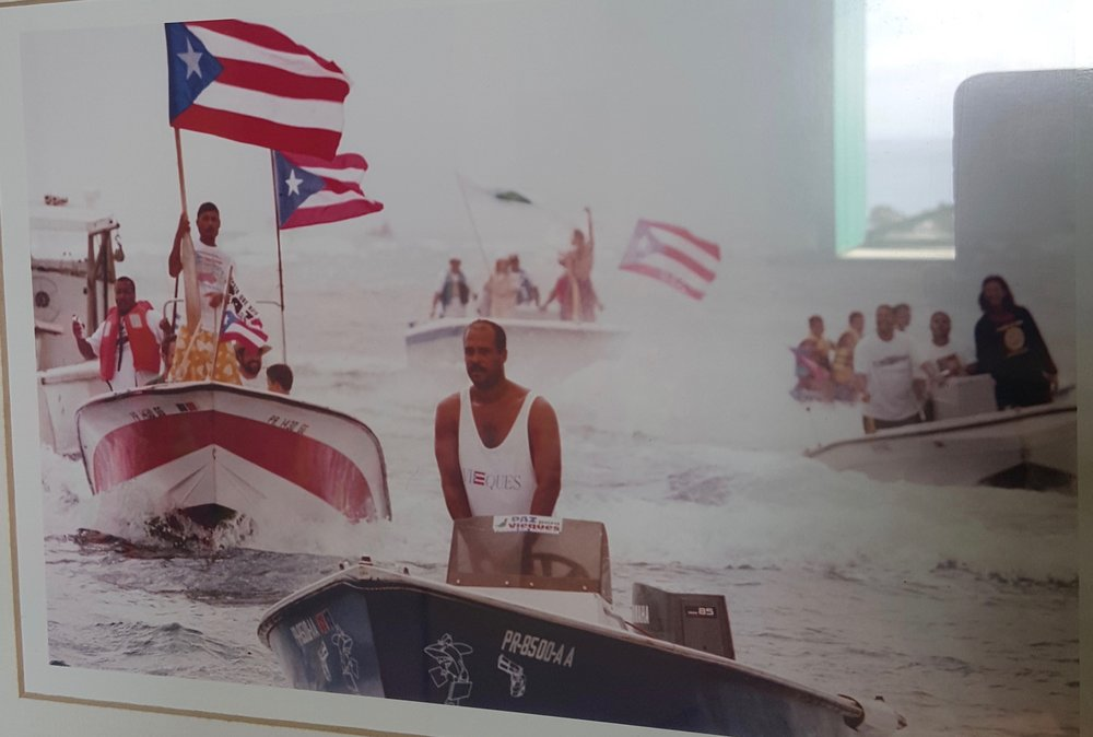Photo of Protesters in Vieques, asking the Navy to leave the island. They left in 2003.