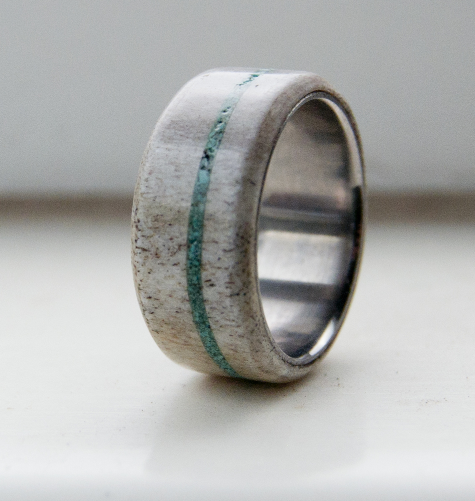 Antler And Turquoise Available In Titanium Silver Black Zirconium 14k White Rose Or Yellow Gold Staghead Designs Design Custom Wedding Bands: Antler Wedding Ring Turquoise At Websimilar.org