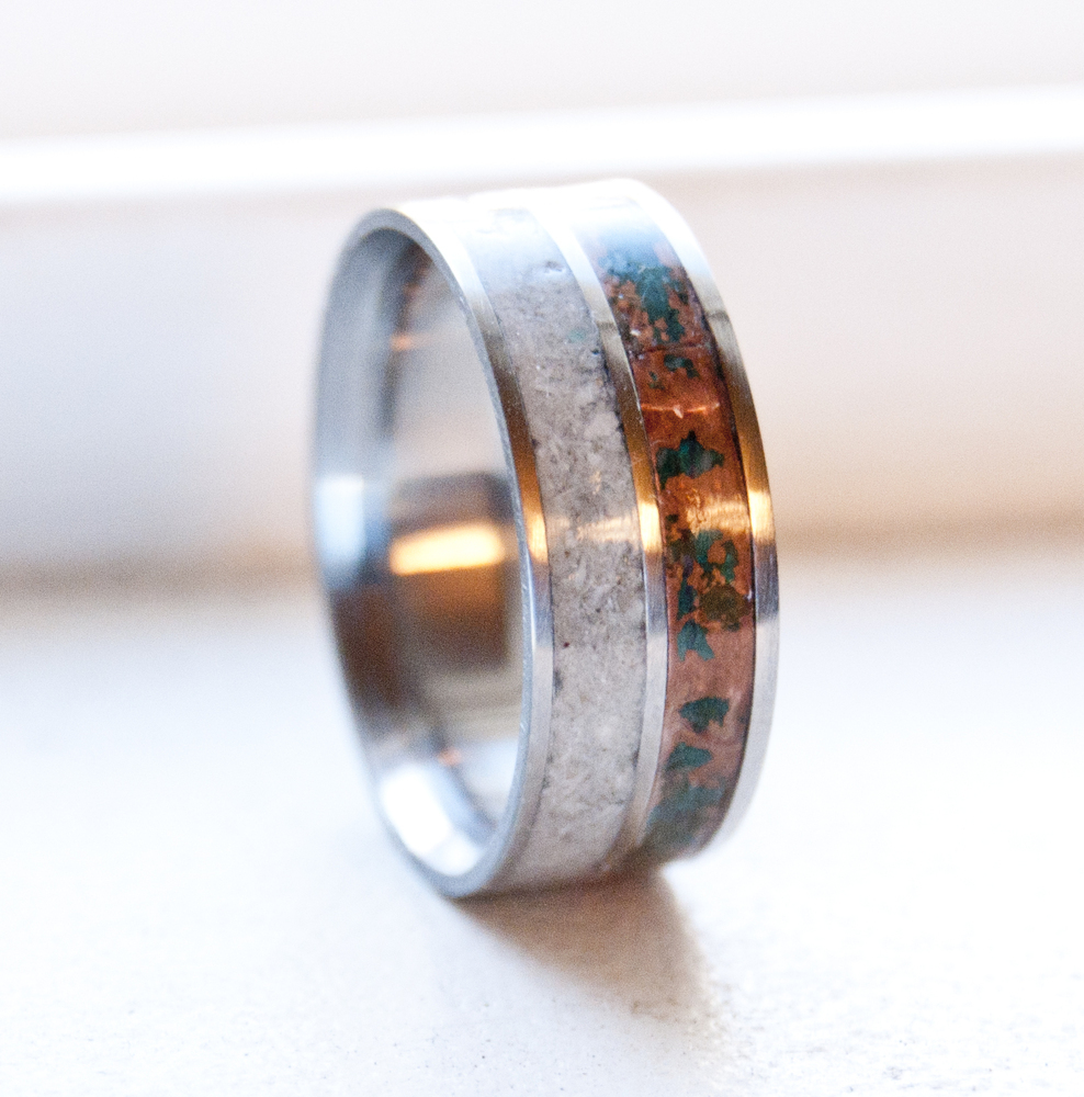 PATINA COPPER AND ANTLER WEDDING BAND titanium silver or gold