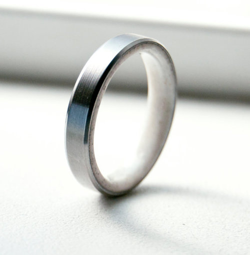 antler lined wedding band titanium silver black zirconium or gold - Mens Wood Wedding Rings
