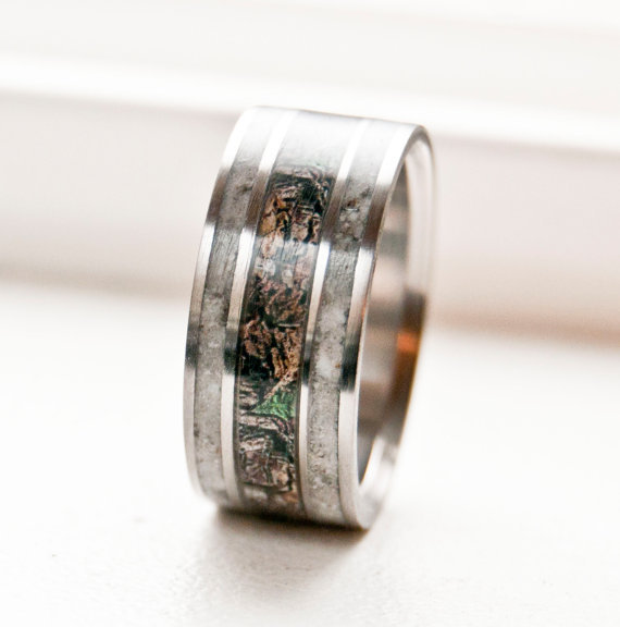 MENS CAMO WEDDING RING WITH REAL ELK ANTLER available in titanium