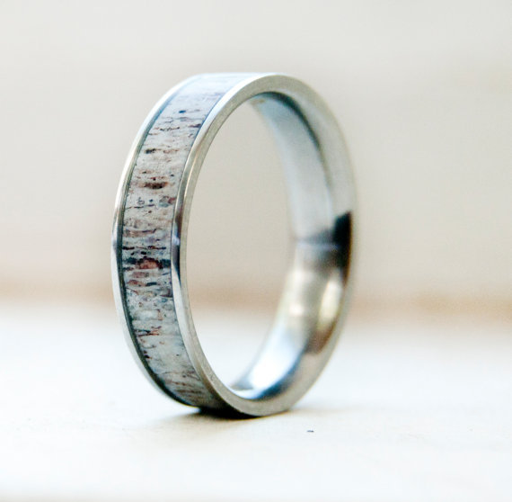 MENS WEDDING BAND WITH ANTLER INLAY available in titanium