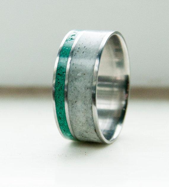Antler And Malachite Wedding Band Available In Titanium Silver Black Zirconium Amp 10k Gold