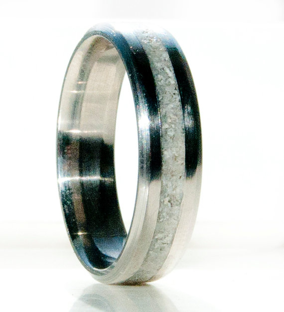 ELK ANTLER TITANIUM WEDDING RING available in titanium silver