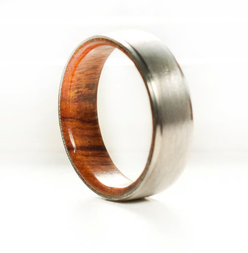wood lined wedding band titanium silver black zirconium or 10k gold - Wood Wedding Ring
