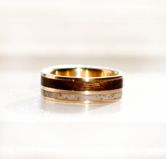 14K YELLOW GOLD WOOD ANTLER RING available in 14K white rose or