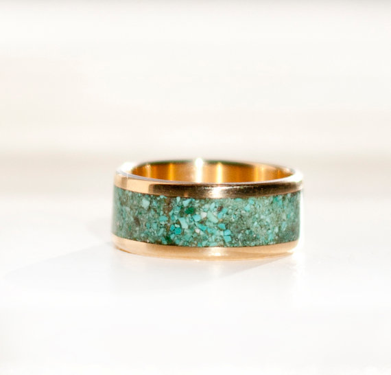 RAINIER IN 14K YELLOW GOLD TURQUOISE WEDDING BAND available in