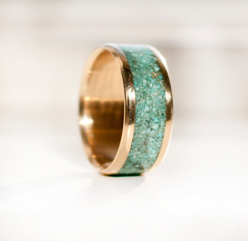 10k gold turquoise wedding band available in yellow rose or white gold - Turquoise Wedding Ring