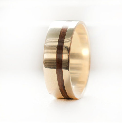 10k gold ring with wood inlay - Wood Wedding Ring