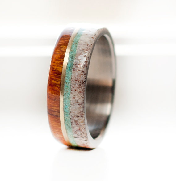 Zebra Wood Wedding Band With Antler Malachite On Silver Band