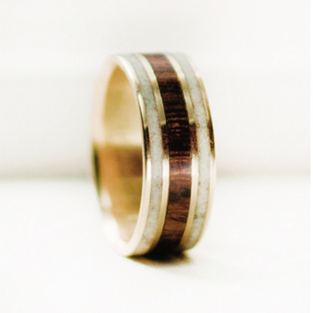 14k Gold Ring With Desert Ironwood And Antler Inlays Available In
