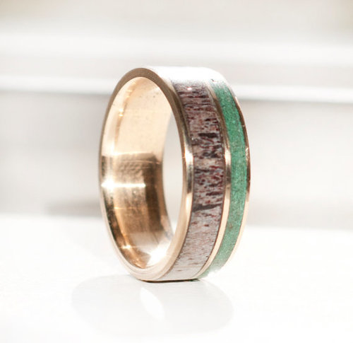 gold wedding band featuring elk antler and jade inlays - Jade Wedding Ring