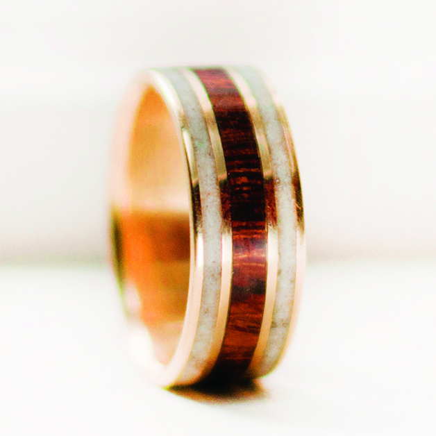 3 Channel Wedding Ring 10k Gold Ironwood Elk Antler