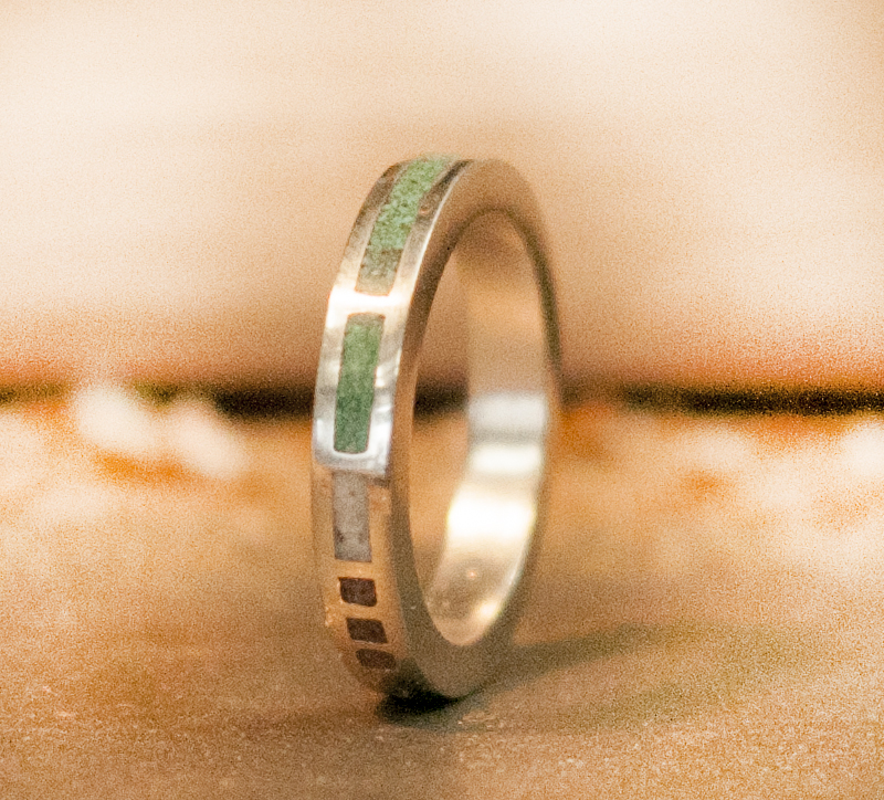 WOMENS MALACHITE ANTLER RED CORAL WEDDING BAND available in
