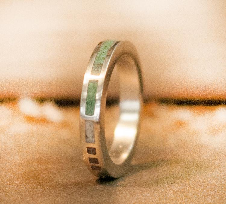 womens malachite antler red coral wedding band - Jade Wedding Ring