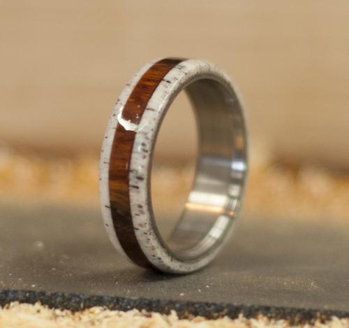 handmade wood and antler wedding ring elk antler on either side of ironwood set - Deer Antler Wedding Rings